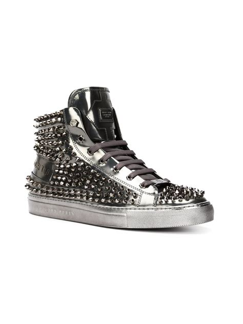 Philipp Plein Sneakers lyst philipp plein high hi top sneakers in gray for