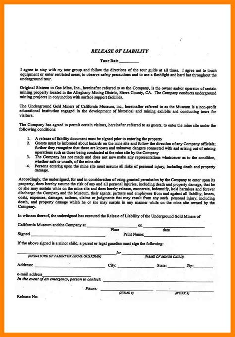 liability agreement template liability waiver form liability and waiver form desafio