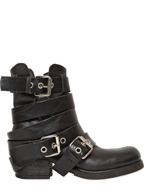 womens biker boot strategia 50mm belted leather biker boots in black lyst