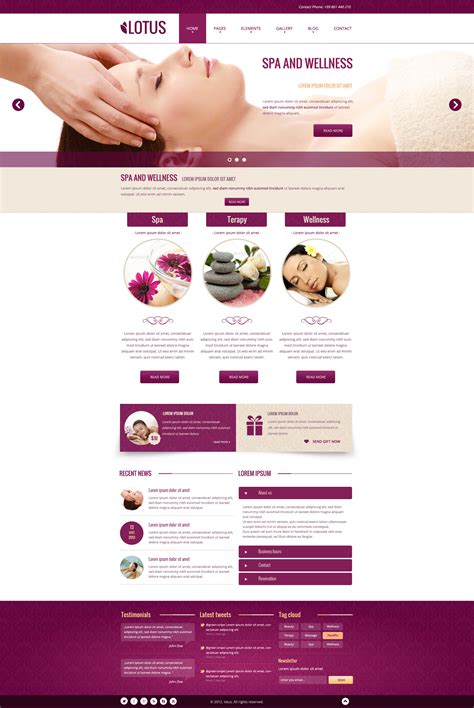 spa website inspiration lotus spa wellness psd template by miciana1417