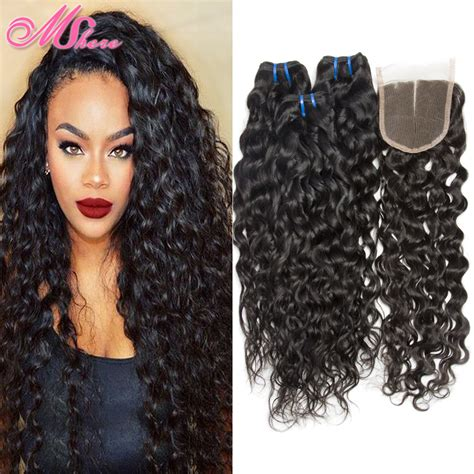 brazilian wet and wavy hair with closure free part lace closure with brazilian water wave virgin hair with closure wet and wavy