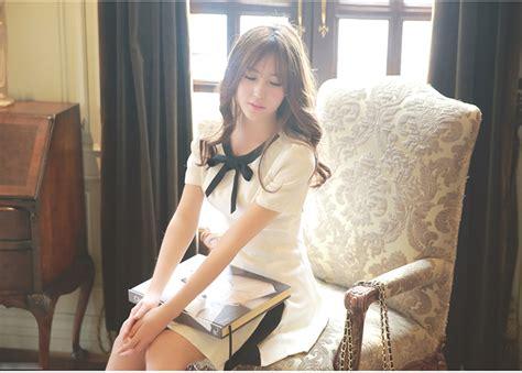 Mini Dress Pesta Korea Hitam Putih Tanpa Lengan Impotr Murah dress putih pita hitam lengan pendek jual model terbaru murah