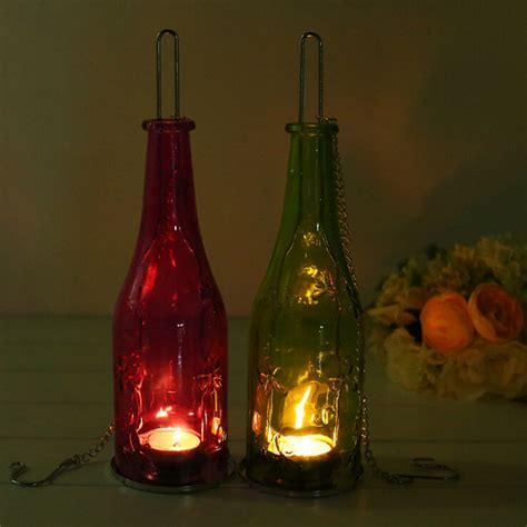 Outdoor Hurricane Candle Holders by Eco Friendly Recycle Wine Bottle Tealight Candle Holder