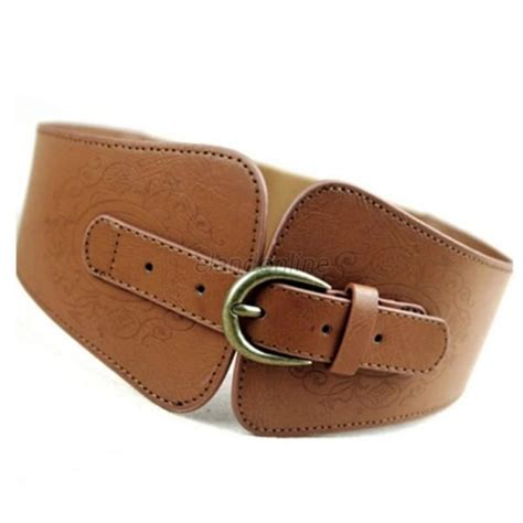 fashion western wide waistband pu leather