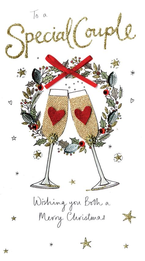 special couple embellished christmas card cards
