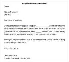 Acknowledgement Letter Business Sle 33 Acknowledgement Letter Templates Free Sles Exles Format Free Premium