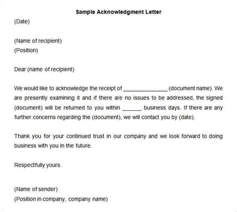 acknowledgement letter of receipt template 34 acknowledgement letter templates pdf doc free