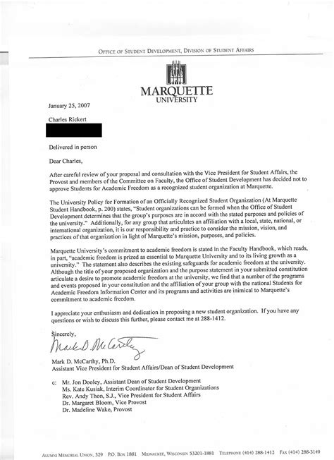 Academic Rejection Letter Generator Marquette Warrior January 2007