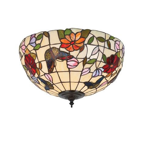 Interiors 1900 Butterfly 2 Light Medium Tiffany Flush Butterfly Ceiling Light
