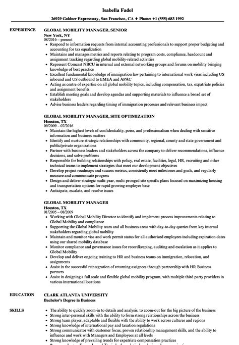 Global Mobility Specialist Cover Letter by Orientation And Mobility Specialist Sle Resume Sox Analyst Sle Resume Retail Executive