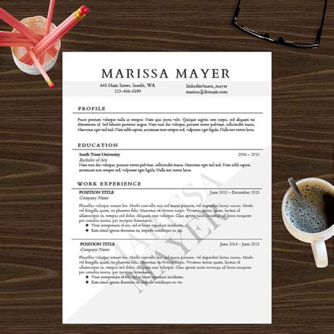 resume template instant digital cover letter