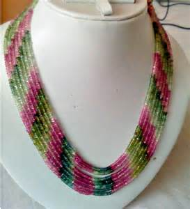 7 strand 3mm multi colour tourmaline beads necklace gleam