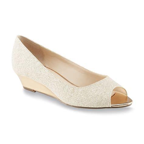 covington s virgo gold glitter peep toe wedge