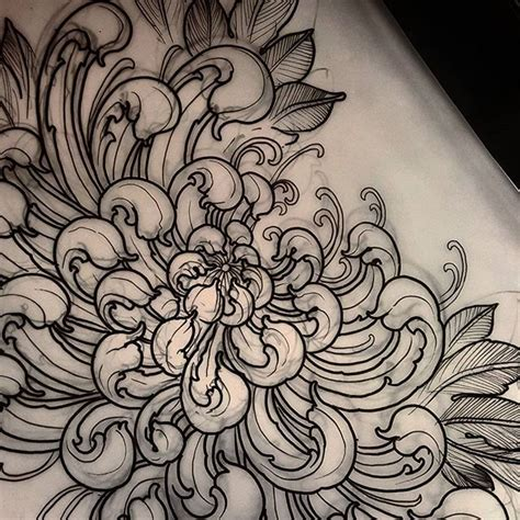 chrysanthemum tattoo curly ornate chrysanthemum available to be tattooed
