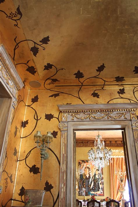 Wallpaper Murals For Walls enigma mansion antiqued gold leafed walls with hand