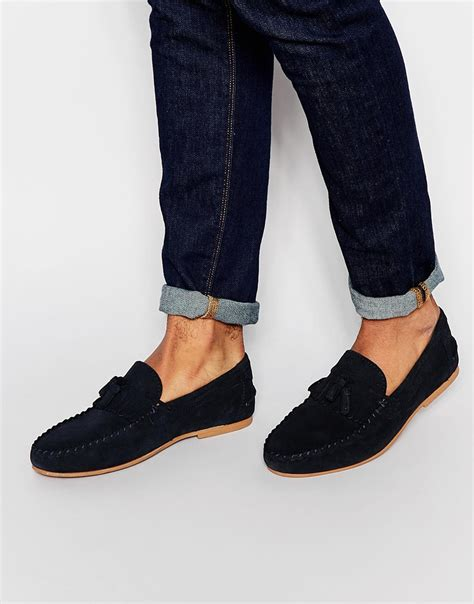 loafers with tassel lyst asos tassel loafers in navy suede with fringe in