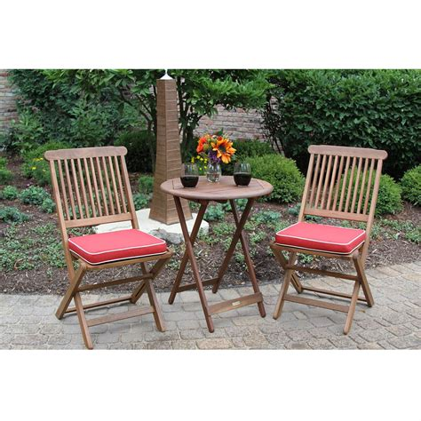 red patio bench 3 piece outdoor patio furniture bistro set with red seat