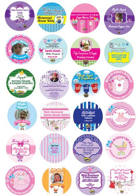 design sticker aqiqah mimiekukiss design round sticker aqiqah