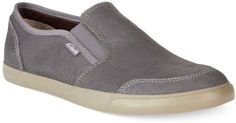 clarks s torbay slip on shoes in gray for lyst