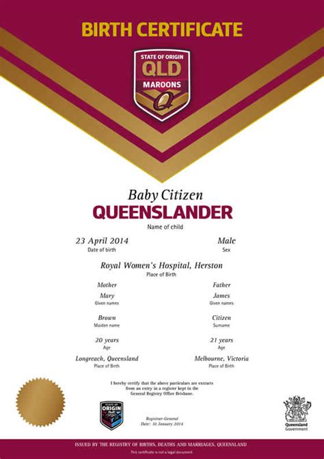 Records Birth Queensland Commemorative Birth Certificates Your Rights Crime And The