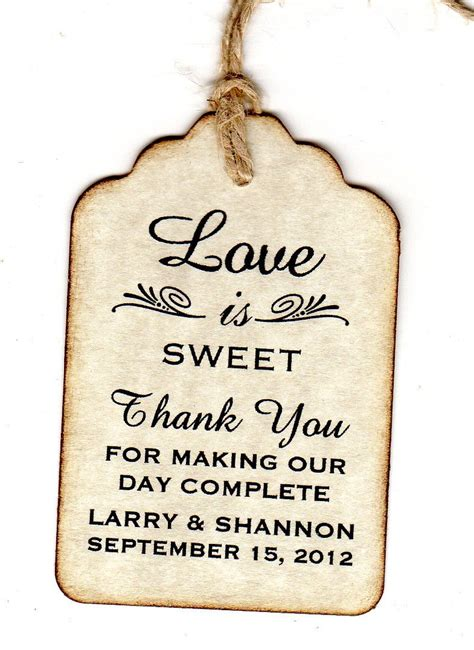 thank you tags for bridal shower favors 100 wedding favor gift tags place card tags thank
