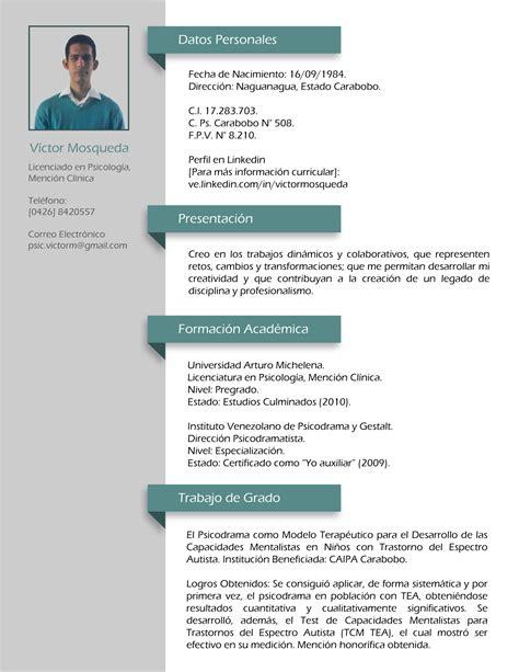 Modelo Curriculum Vitae Psicologo Clinico Experiencia Profesional Psic V 237 Ctor Mosqueda