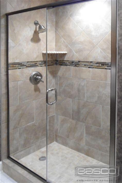 Basco Infinity Shower Door Basco Infinity No Post Frameless Continuous Hinge Door In Line Panel Satin Nickel Finish
