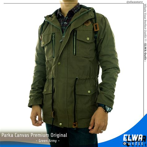 jaket parka kanvas original distro pria green army