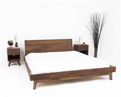 modern mid century solid wood mid century modern bed frame with headboard