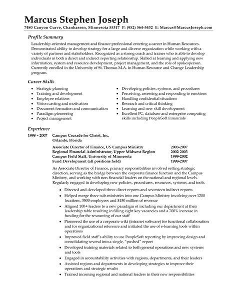 Professional Summary On Resume by Professional Summary Resume Exles Career Summary Resume