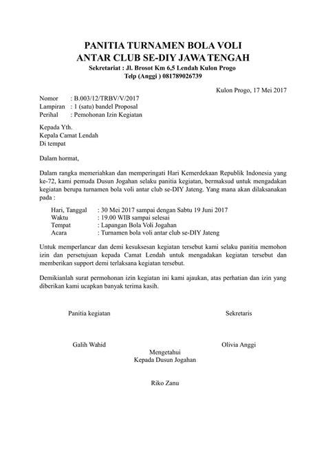 Contoh Surat Ijin Tidak Masuk Dinas by Contoh Surat Permohonan Izin Kegiatan Kepada