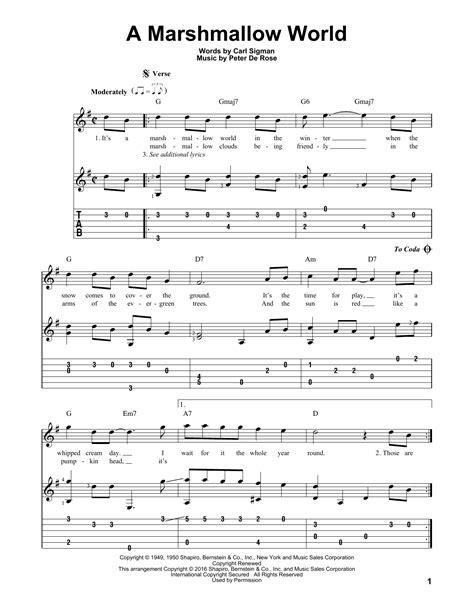 marshmello ukulele chords a marshmallow world guitar tab by peter de rose guitar