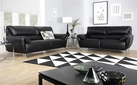 3 2 black leather sofas enzo black leather sofa 3 2 seater only 163 799 98
