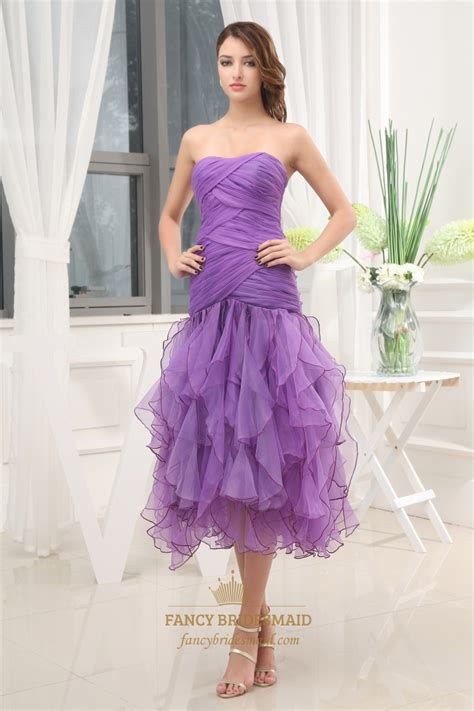 tea length cocktail dresses homecoming purple tea length formal dress organza strapless bodice