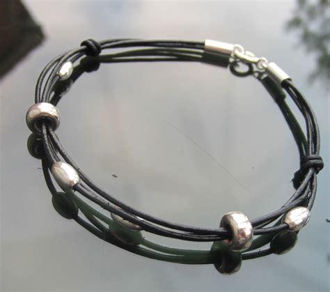 leather sterling silver bracelet black real leather cord bracelet with 925 sterling silver