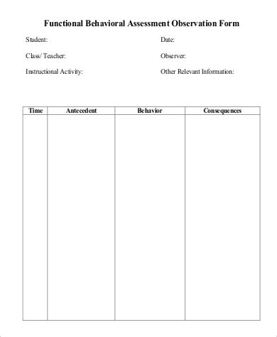 Functional Behavior Assessment Template by Functional Behavior Assessment Exle 9 Sles In
