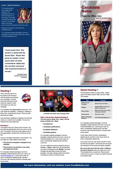 political brochure templates political print templates blue patriotic theme
