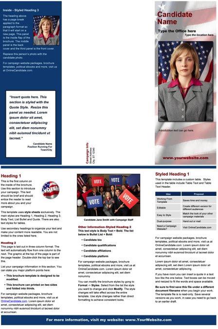 political caign brochure template political print templates blue patriotic theme