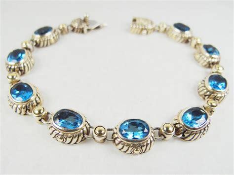 SAMUEL B BEHNAM Gorgeous BJC Streling Silver 18k Gold Plated Blue Topaz Bracelet   eBay