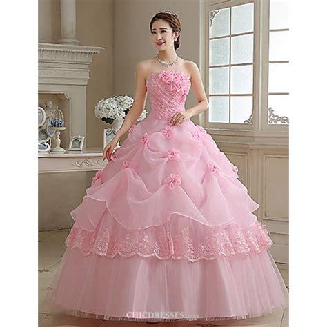 Ball Gown / Princess Wedding Dress   Blushing Pink Floor length Strapless Organza,Cheap Uk