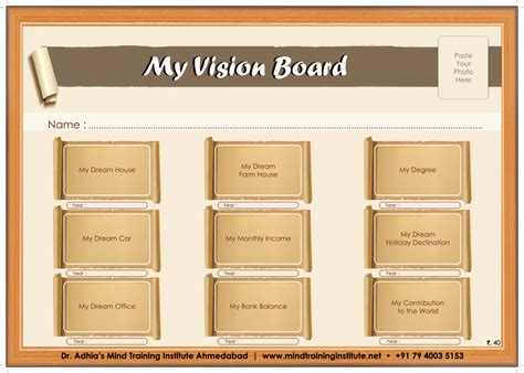 Dr Adhia S Mind Training Institute Vision Board Powerpoint Template
