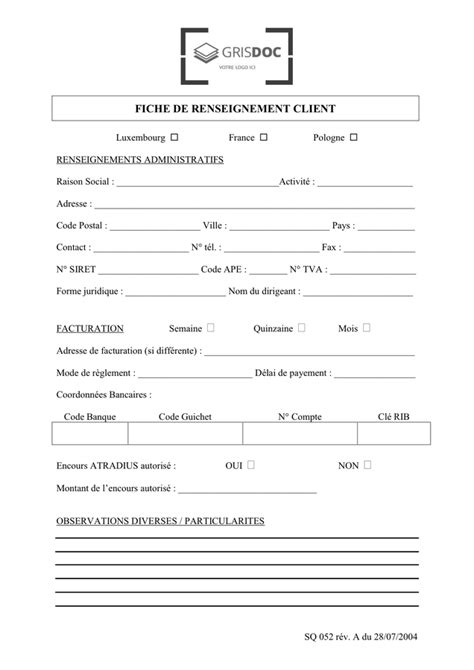 Fiche de renseignement client - DOC, PDF - page 1 sur 1
