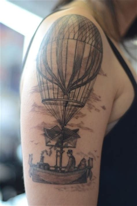tattoo of hot air balloon vintage hot air balloon tattoo ink pinterest