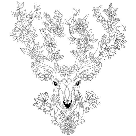winter deer coloring page deer coloring page design ms zentangles adult
