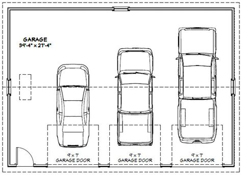 size of 3 car garage best 3 car garage dimensions for garage plan 74802 9924