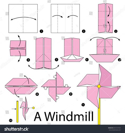 How To Make A Paper Windmill For - step by step how make stock vector 391319725