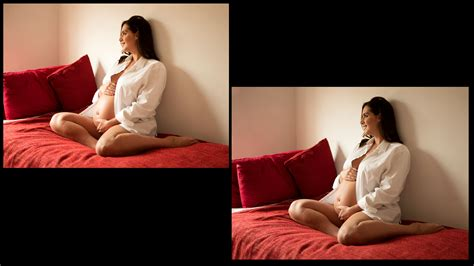 bedroom maternity photos mens white shirt and sitting on bed become a better