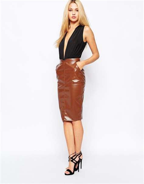 brown faux leather brown faux leather pencil skirt jill dress
