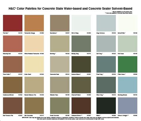 water based concrete stain color charts images