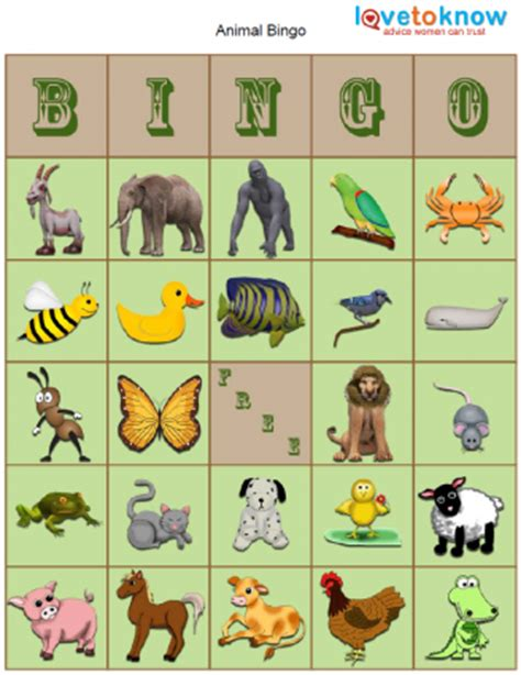 printable animal bingo for preschoolers bingo game board template lovetoknow